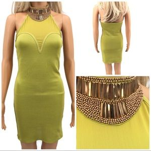 Wow Couture Lime Green Bodycon Dress Size Sm